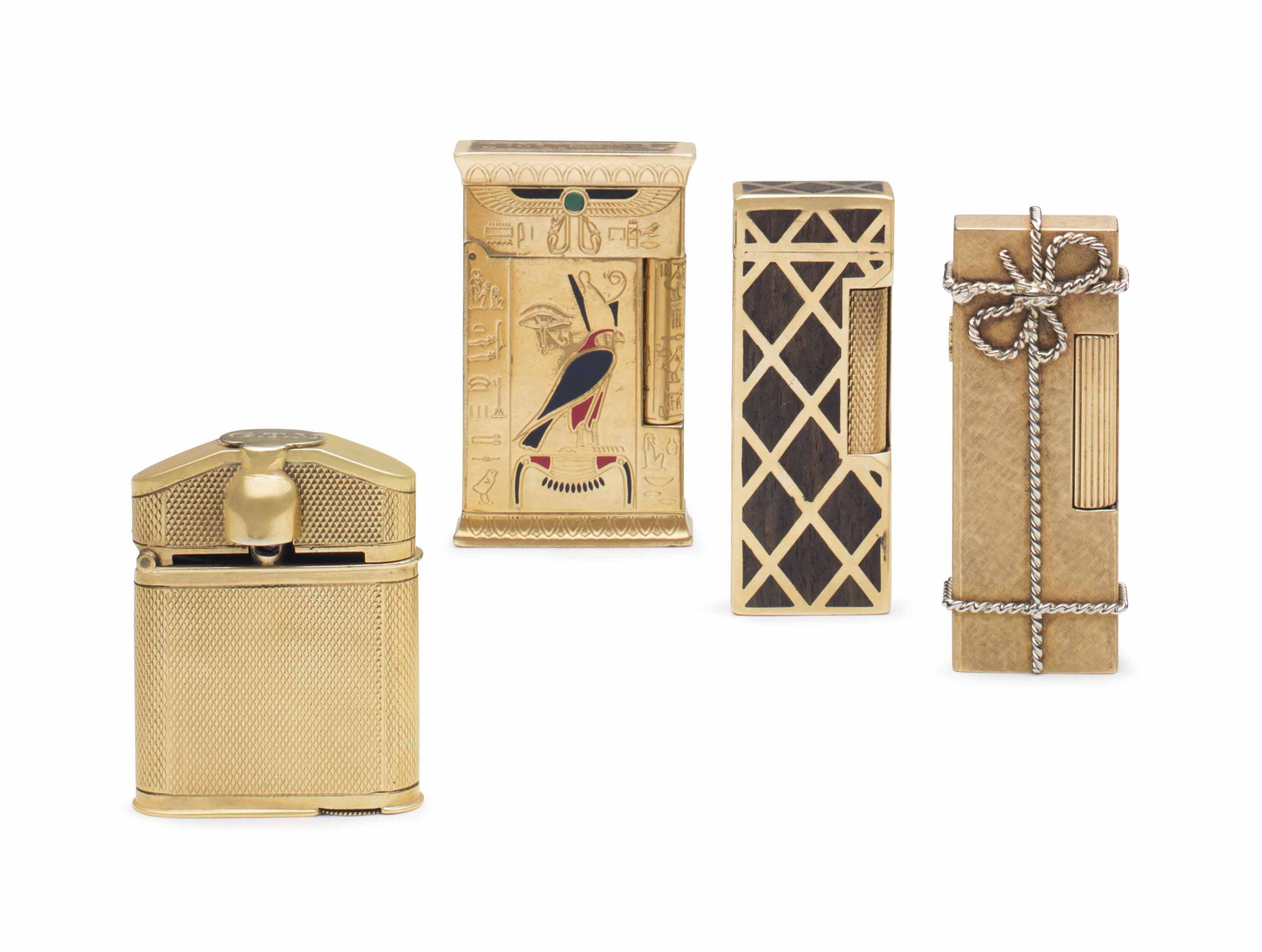 FOUR ENGLISH, FRENCH AND SWISS GOLD LIGHTERS
