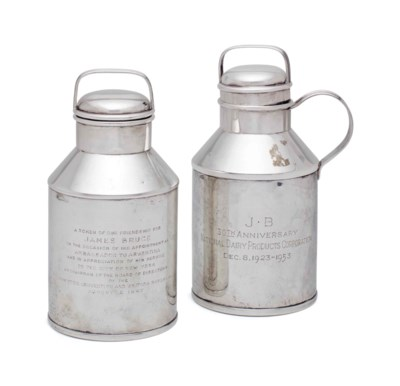 TWO AMERICAN SILVER MILK PAIL-