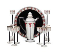 AN ASSEMBLED AMERICAN SILVER AND ENAMEL COCKTAIL SET