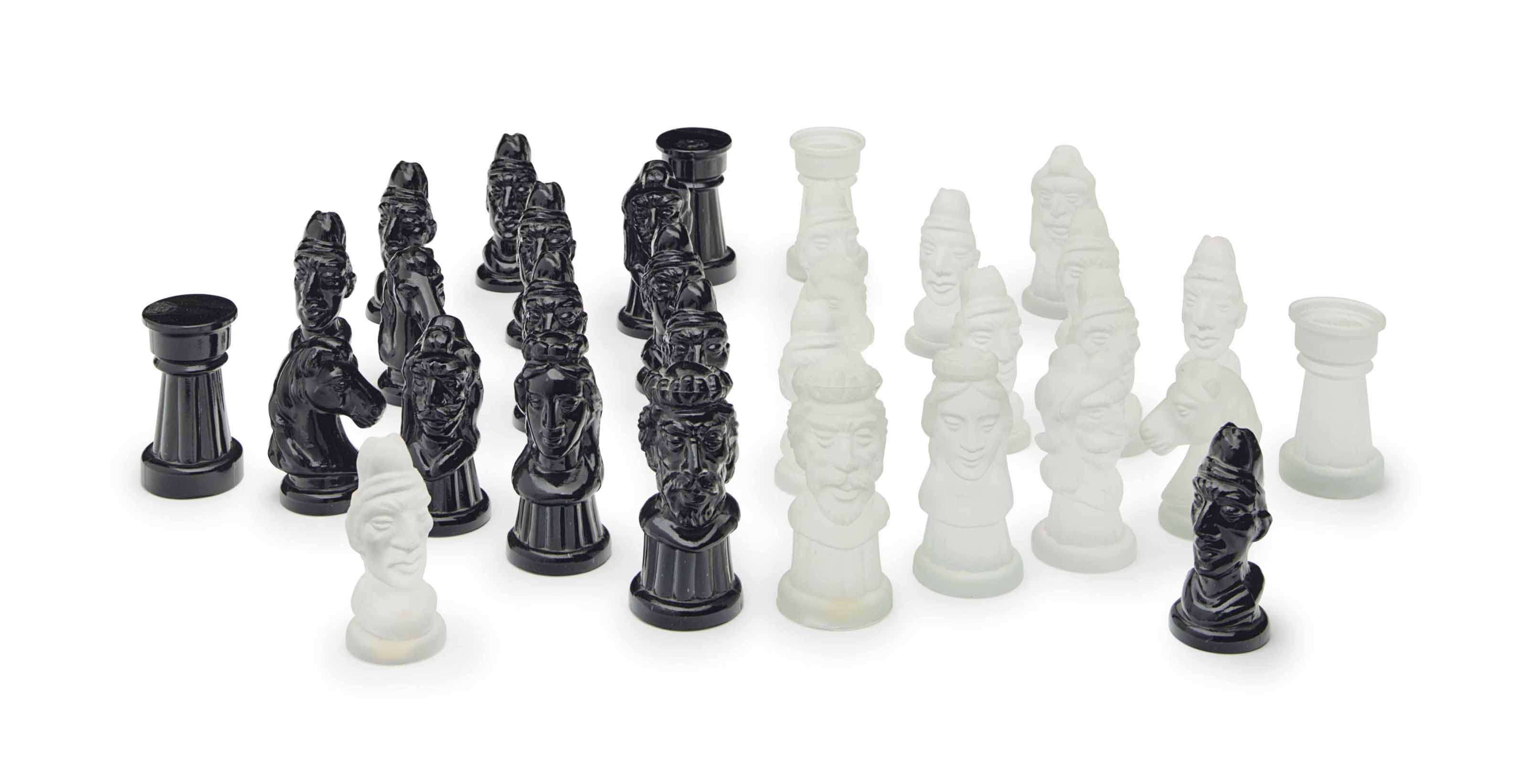 A MURANO PRESSED GLASS CHESS S