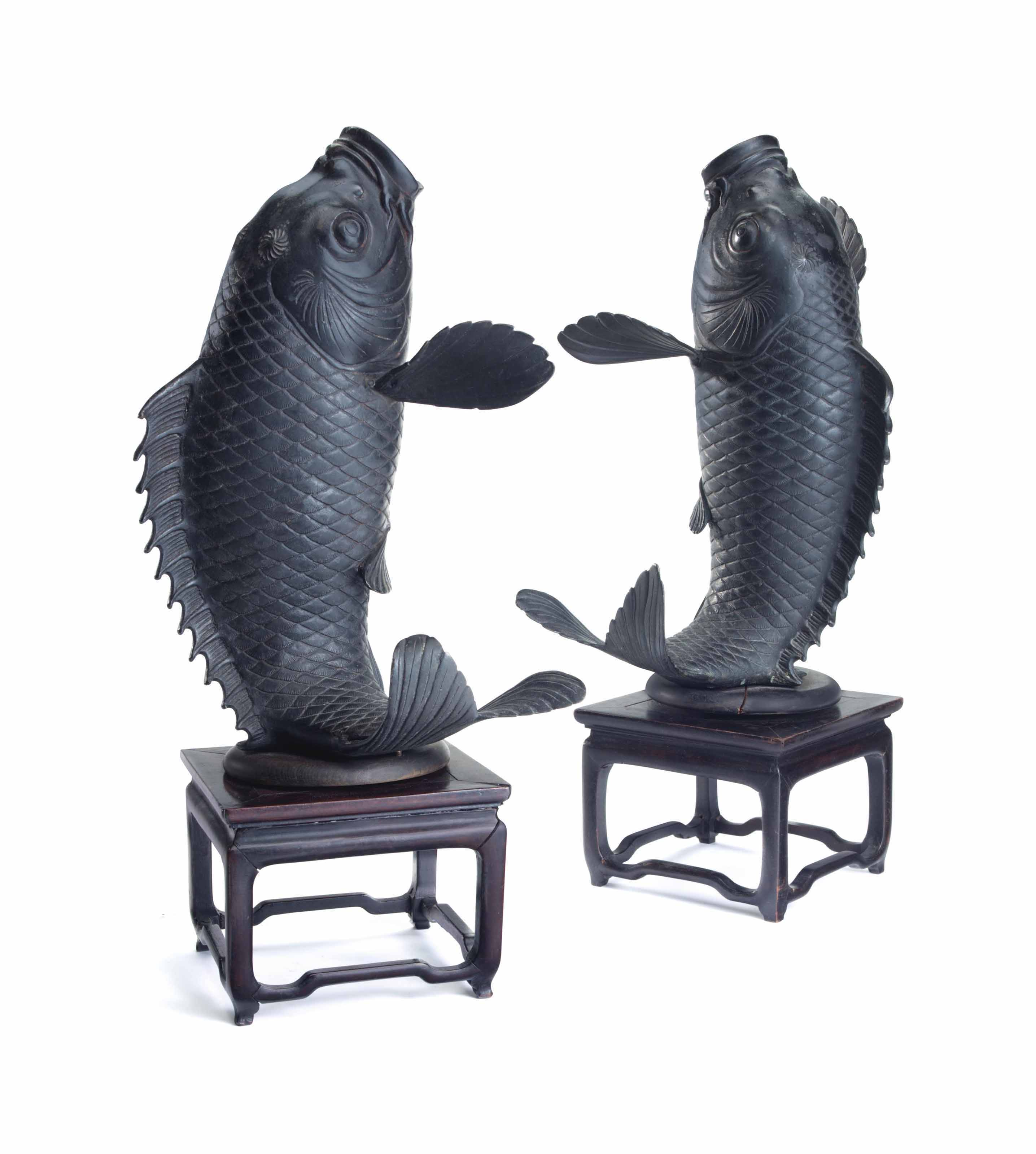 A PAIR OF JAPANESE BRONZE MODE
