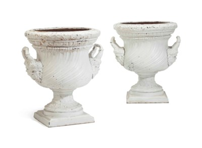 A PAIR OF WHITE-PAINTED CAST-I
