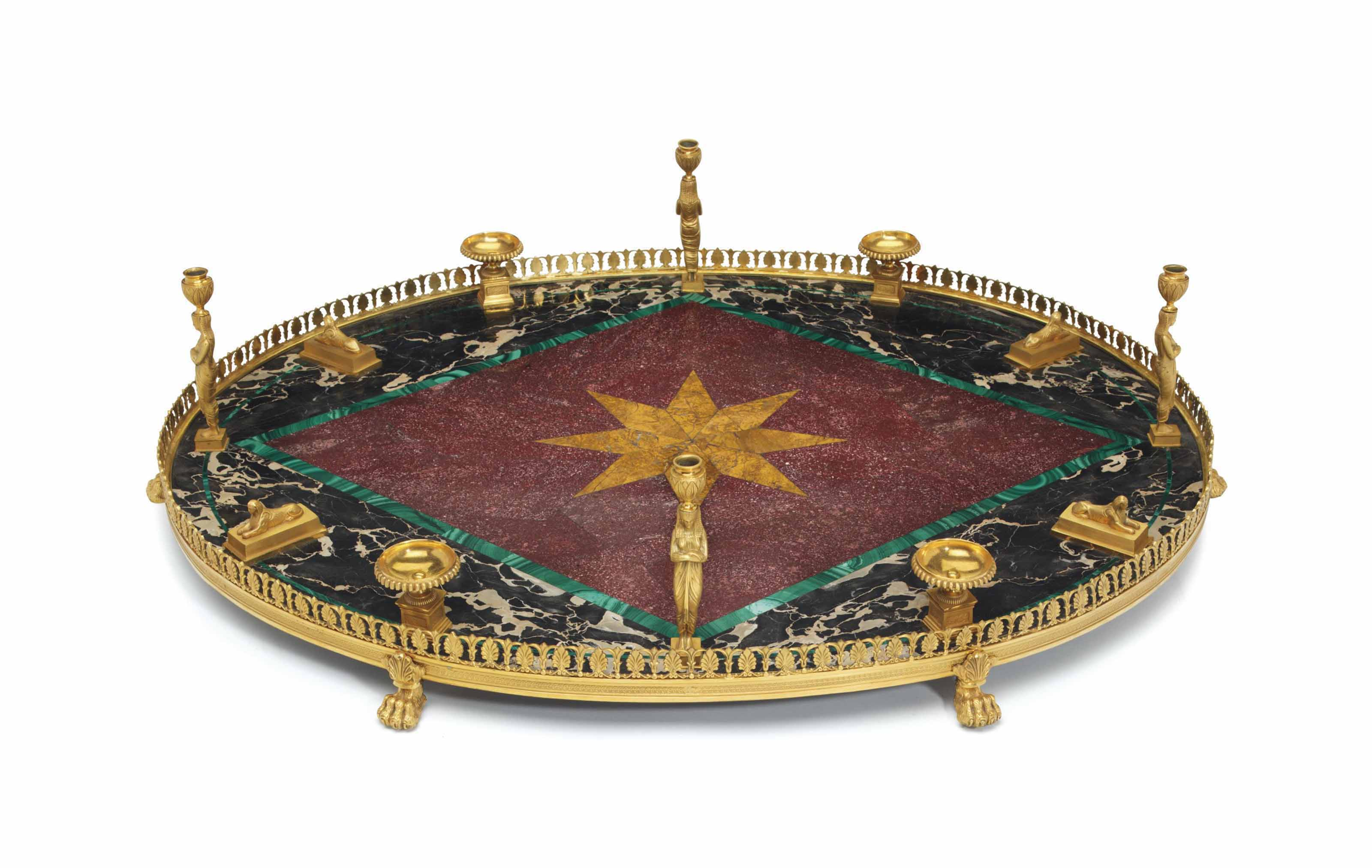AN ORMOLU, INLAID MARBLE AND P