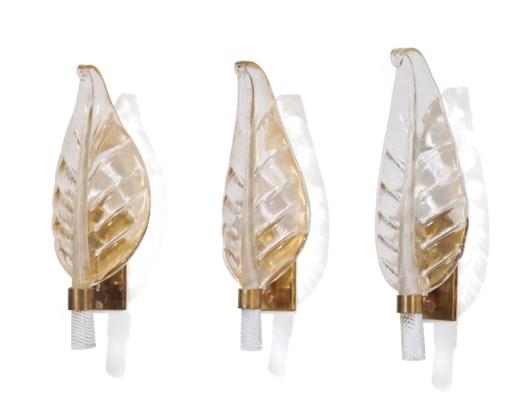 THREE VENETIAN GLASS LEAF-FORM