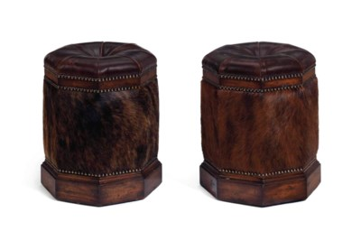 A PAIR OF LEATHER, COWHIDE AND