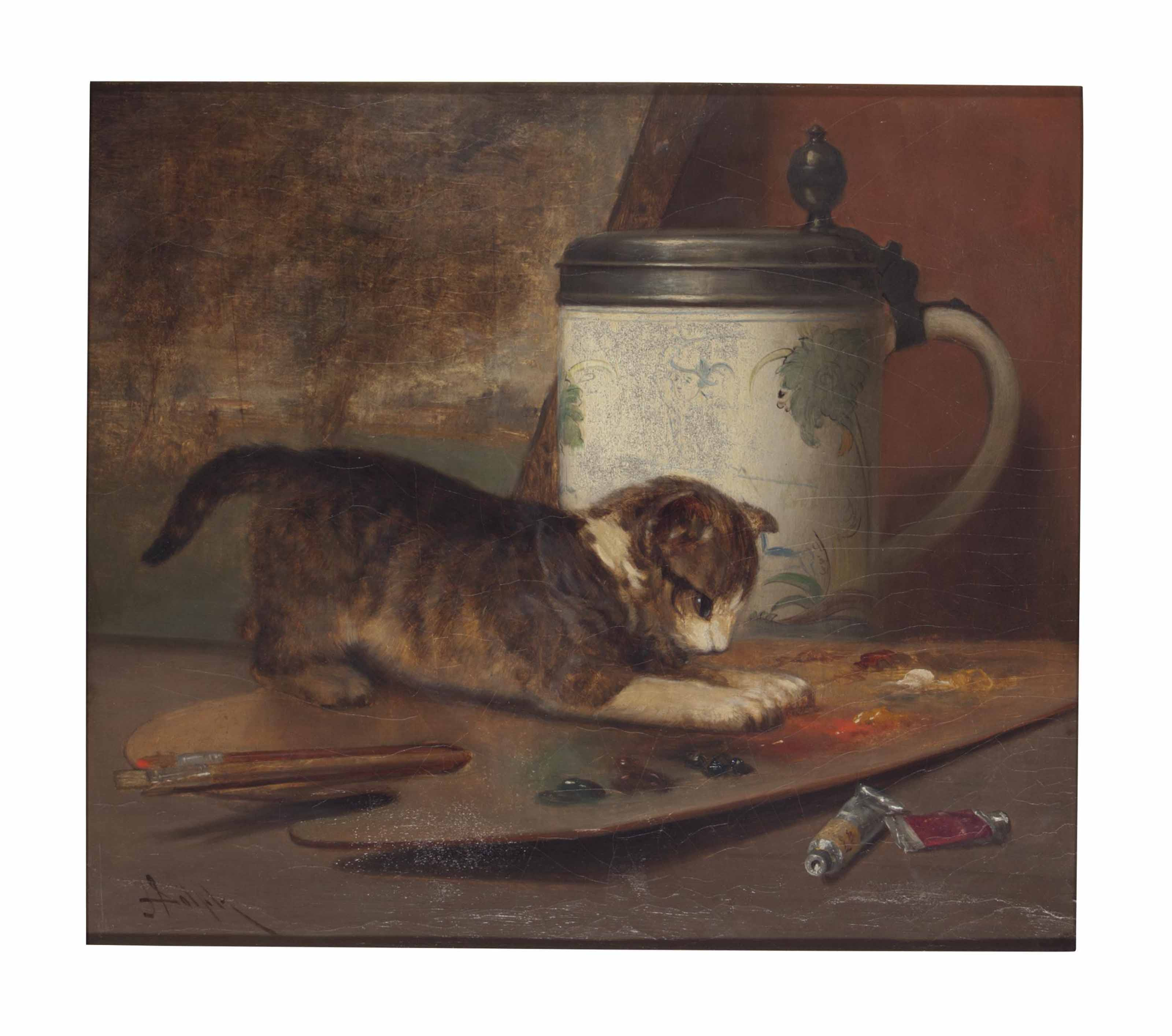 Cat Pawing at Painter's Palette