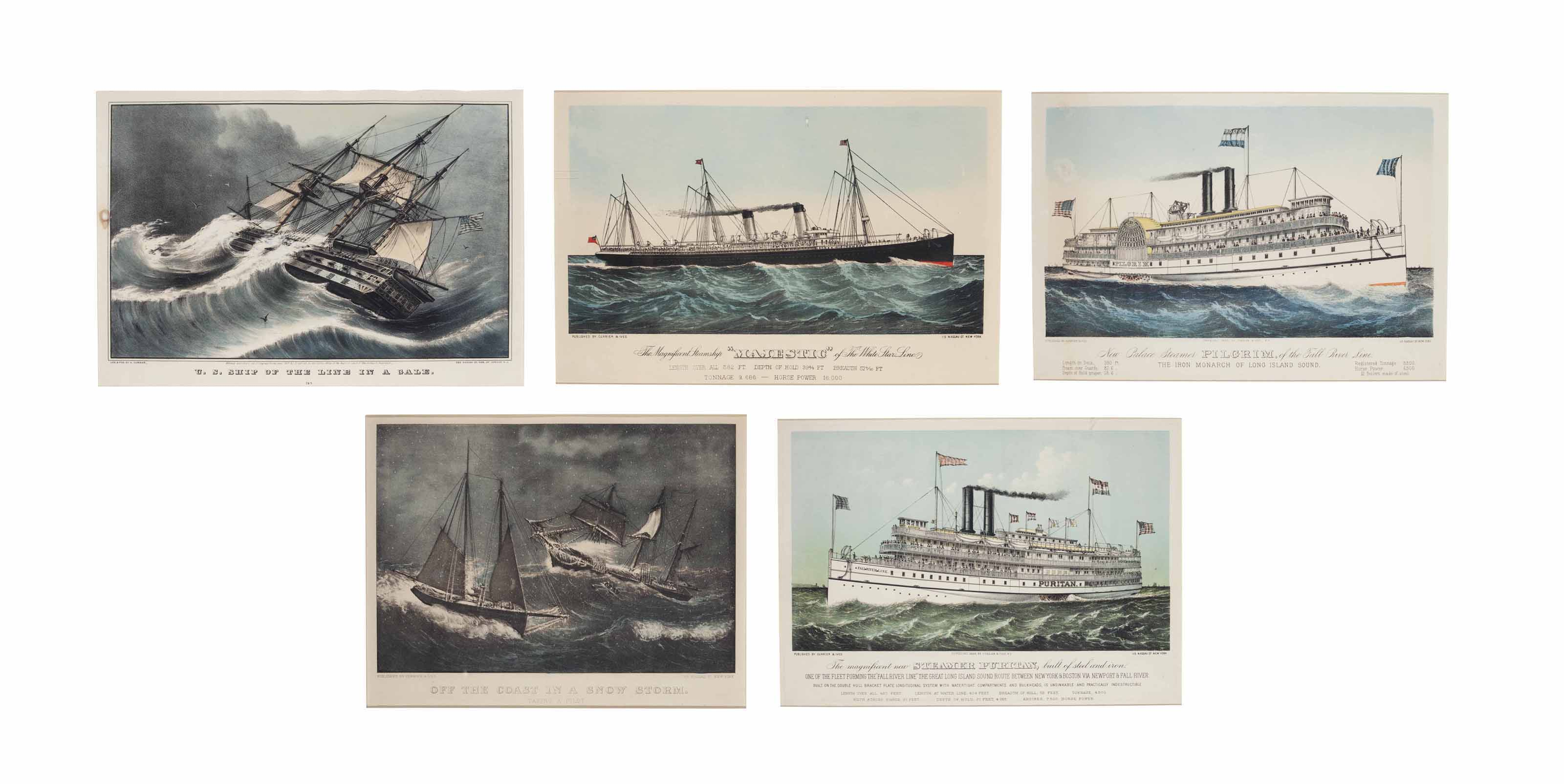 Steamships and Maritime Scenes [5 Plates]