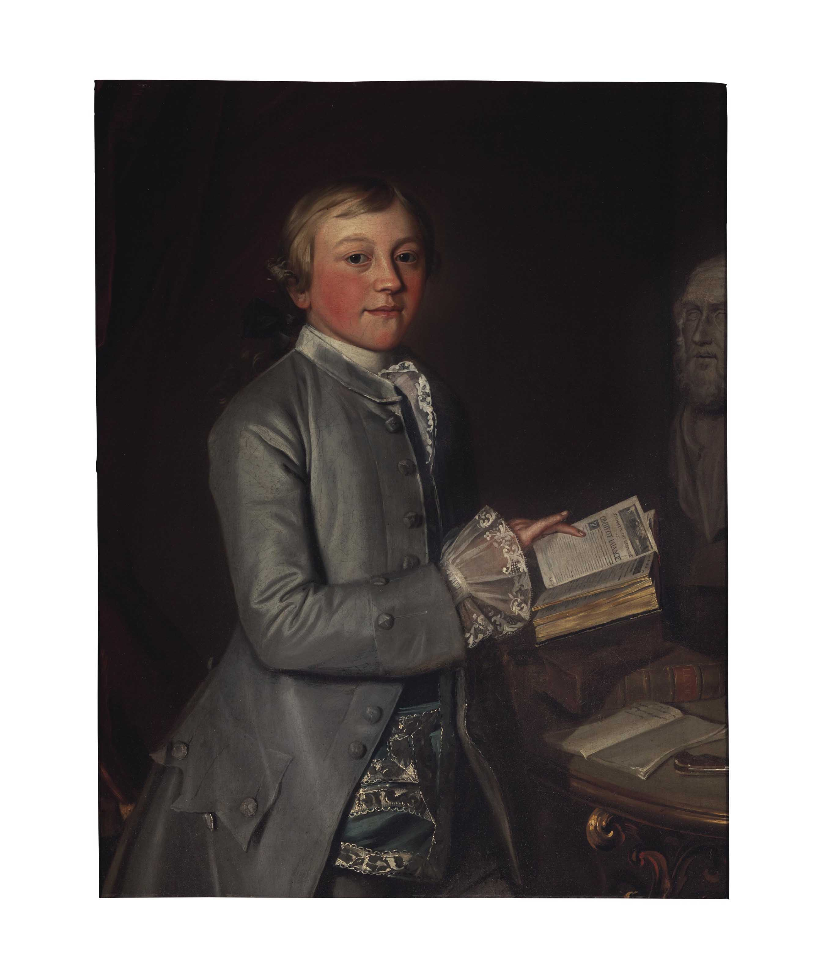 """Portrait of Giles Moore , three-quarter-length, reading the """"Ilian"""", with a bust of Homer"""