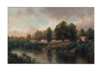 River landscape with ducks and figure in a boat