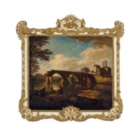 A ruined bridge in the Roman campagna with figures along a river with boaters and fishermen