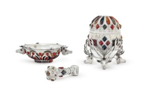 AN ASSEMBLED SCOTTISH VICTORIAN HARDSTONE-MOUNTED SILVER THR