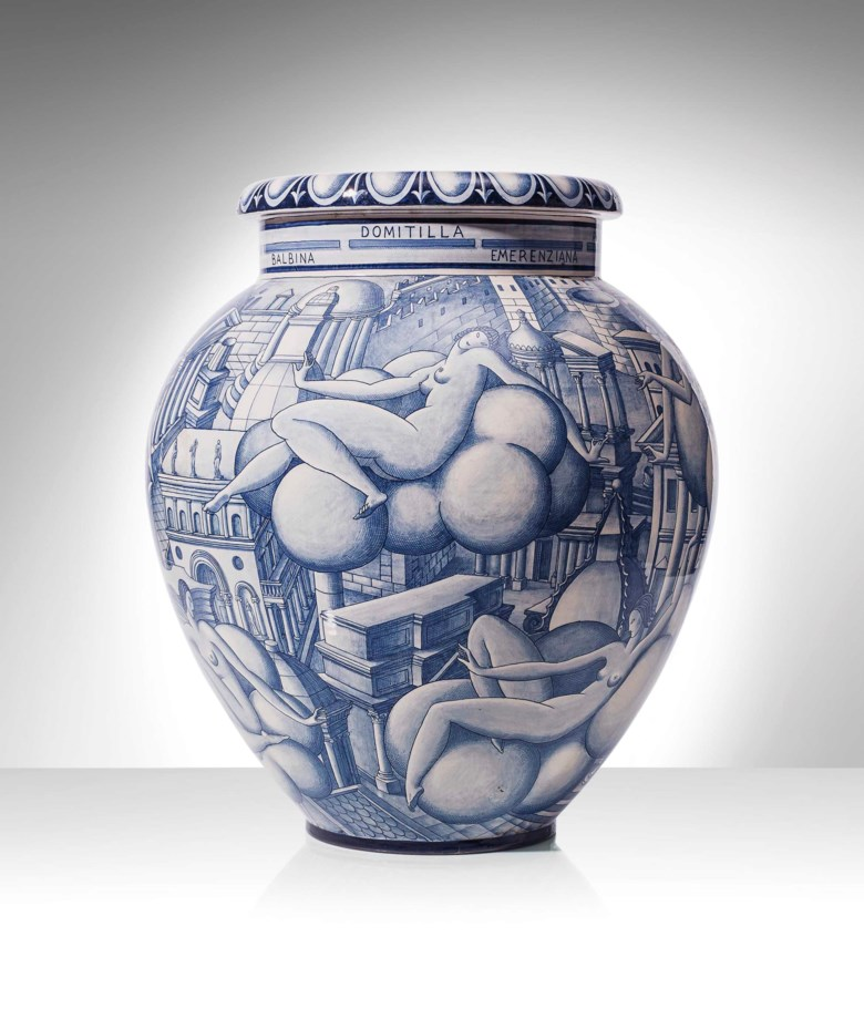 Gio Ponti (1891-1979), an important and monumental vase (Vaso delle donne delle architetture), 1923-1930. 19½  in (49.5  cm) high. Sold for $319,500 on 12 December 2016 at Christie's in New York
