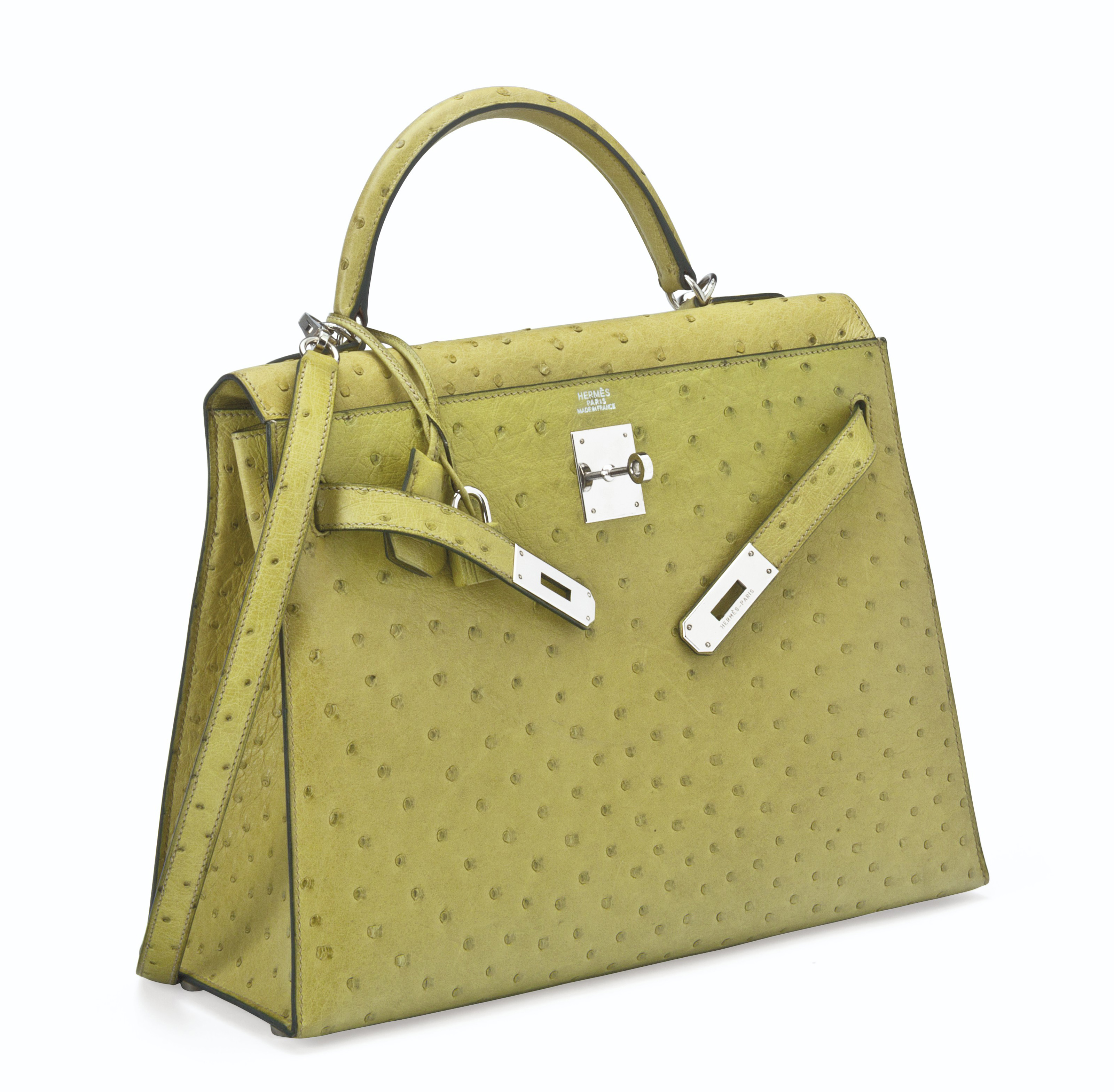 e9705c93e1 A VERT ANIS OSTRICH SELLIER KELLY 32 BAG WITH PALLADIUM HARDWARE ...