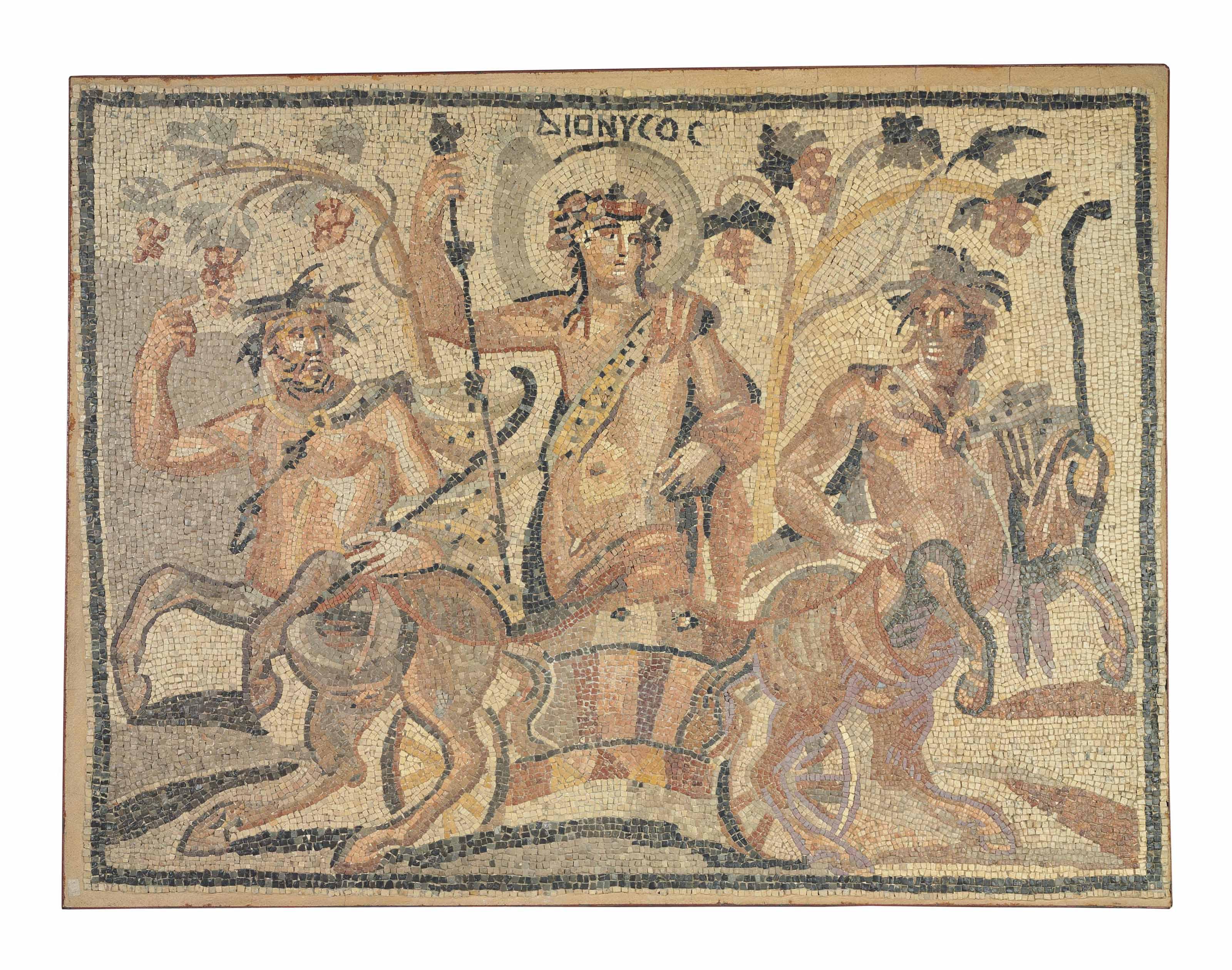 A ROMAN STONE MOSAIC PANEL