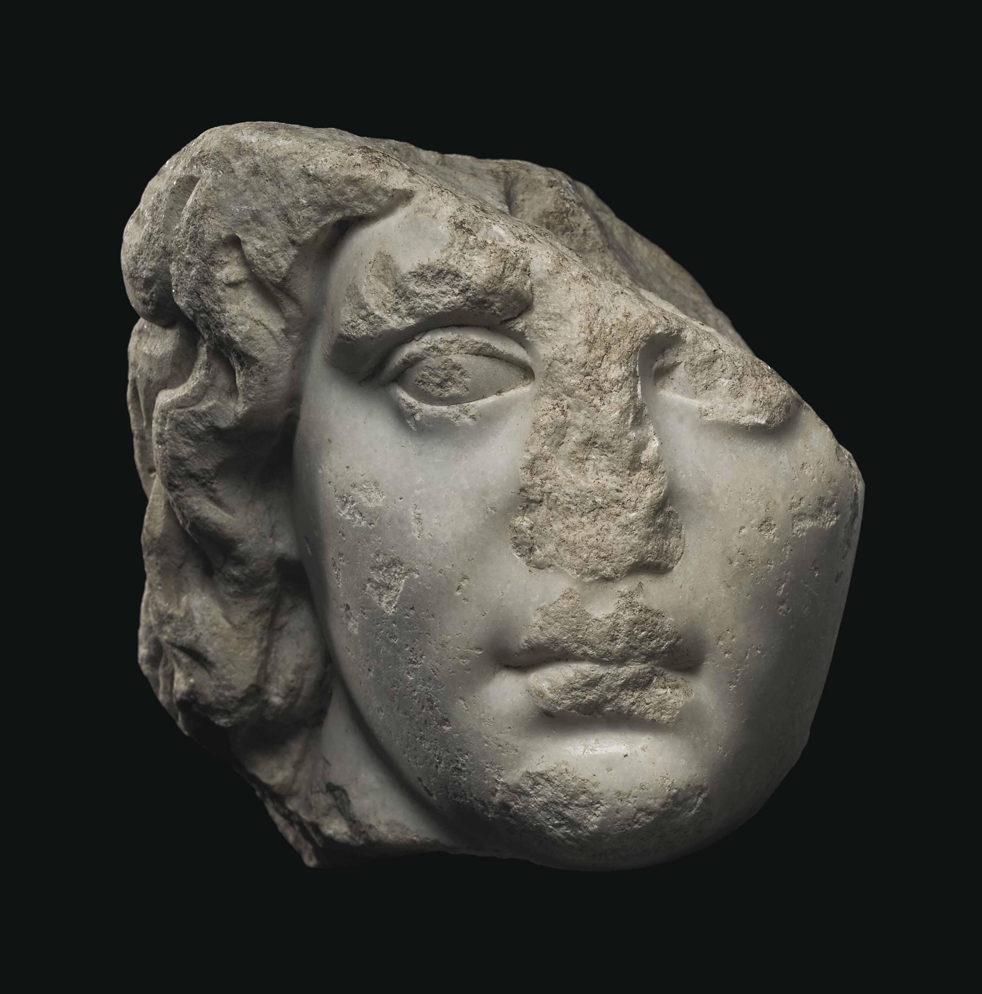A GREEK MARBLE HEAD