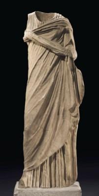 A ROMAN MARBLE DRAPED WOMAN