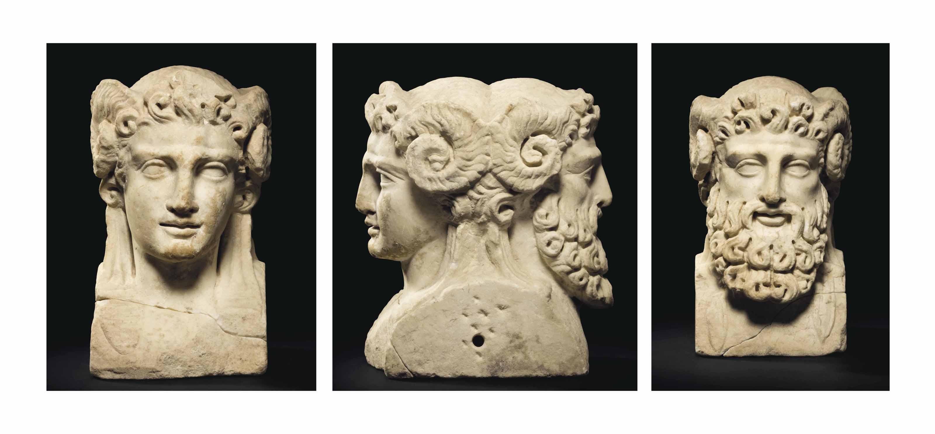 A ROMAN MARBLE JANIFORM HERM HEAD