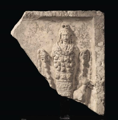 A ROMAN MARBLE RELIEF OF ARTEM