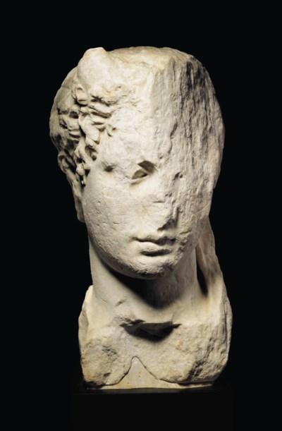 A GREEK MARBLE HEAD OF A RULER