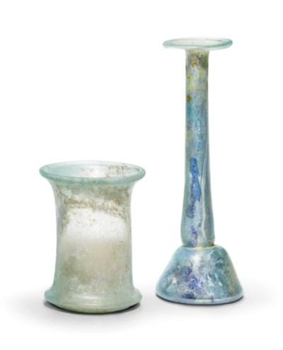 A ROMAN PALE GREEN GLASS CUP A