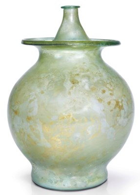 A ROMAN PALE GREEN GLASS LIDDE
