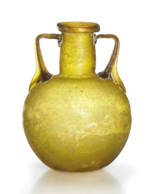 A ROMAN AMBER GLASS AMPHORISKO