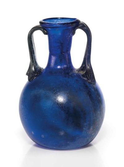 A ROMAN COBALT BLUE GLASS AMPH