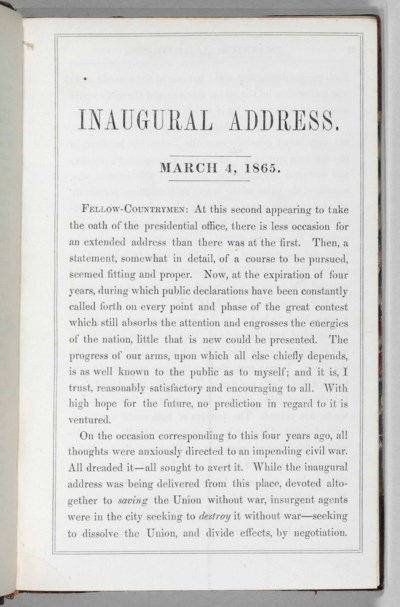 LINCOLN, Abraham. March 4, 186
