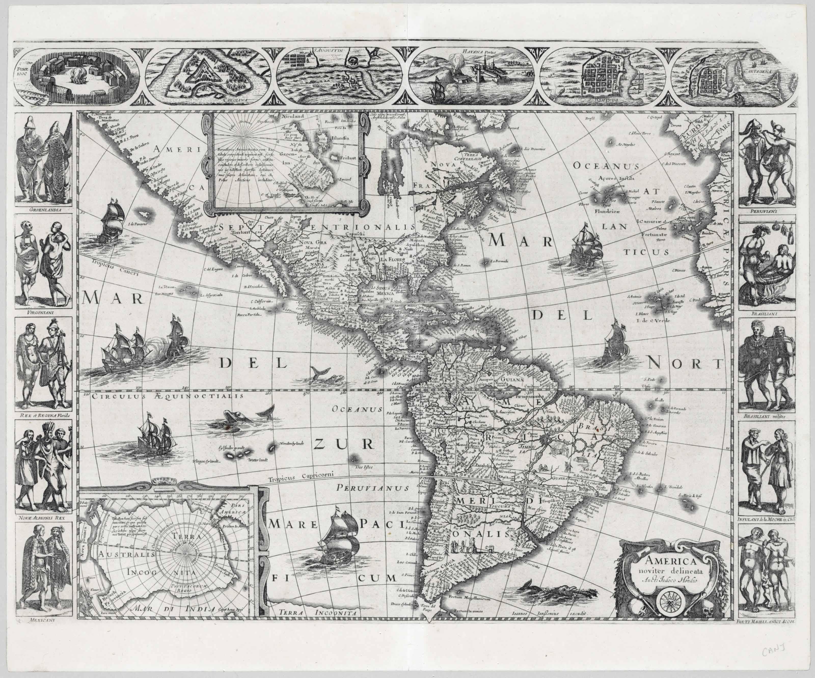 JANSSON, Joannes (1588-1664) and Henricus HONDIUS (1597-1651). America noviter delineata. [Amsterdam:] 1632 [or later].