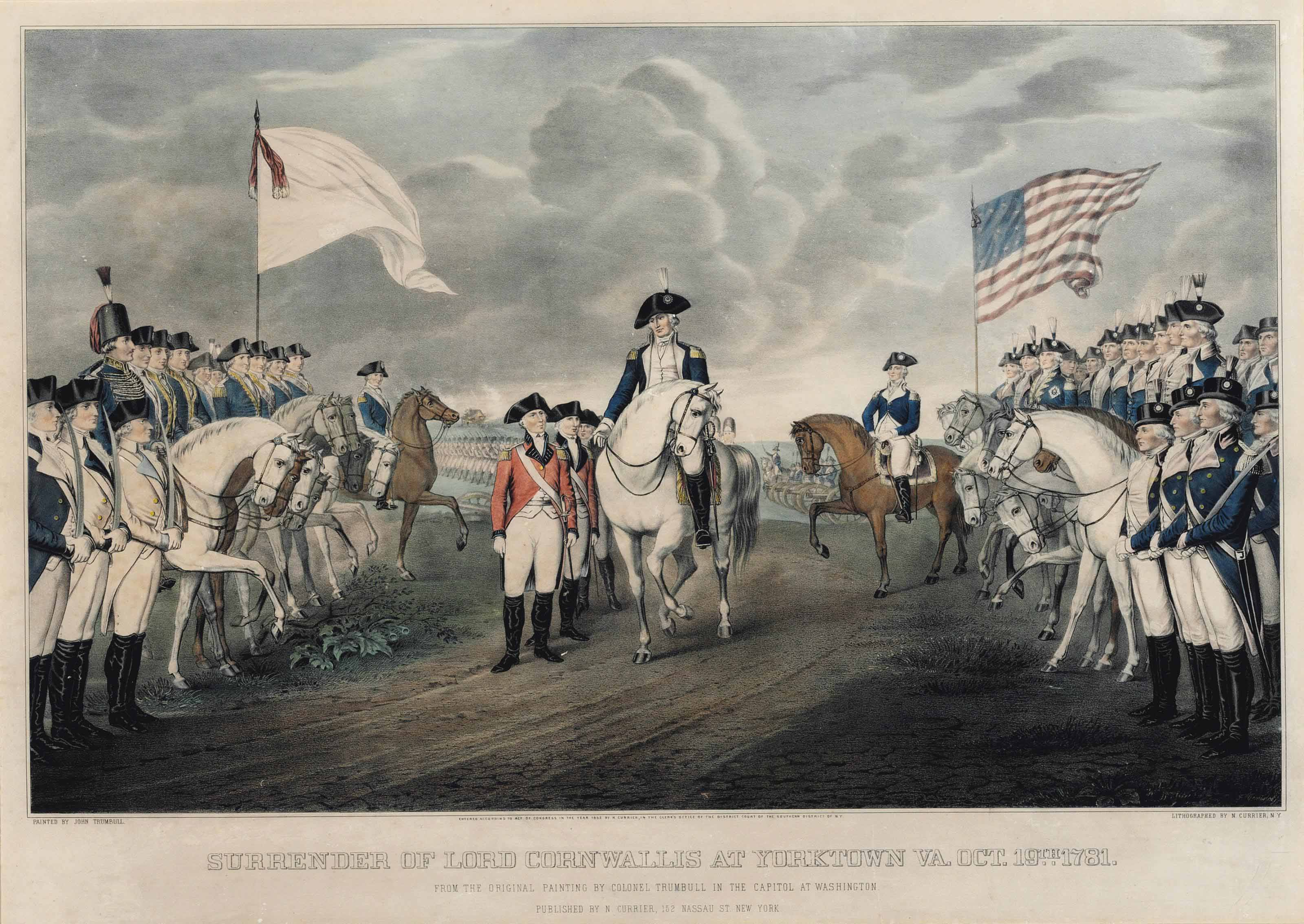 CURRIER and IVES, publishers. – Otto Knirsch after a painting by John Trumbull. Surrender of General Burgoyne at Saratoga N.Y. Oct. 17th. 1777 (G.6371) – Franz Venino after a painting by John Trumbull. Surrender of Lord Cornwallis At Yorktown VA. Oct. 19th. 1781 (G.6378).