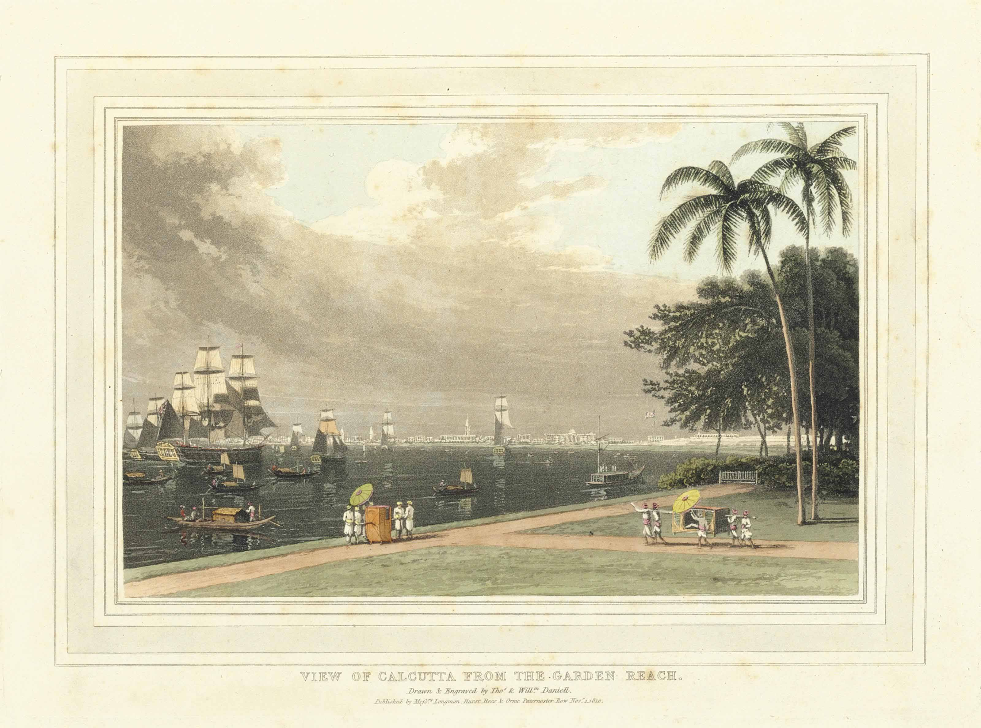 DANIELL, Thomas (1749-1840) and William (1769-1837). A Picturesque Voyage to India; by the way of China. London: Longman, Hurst, Rees, Orme and William Daniell, 1810 (text watermarked 1808).
