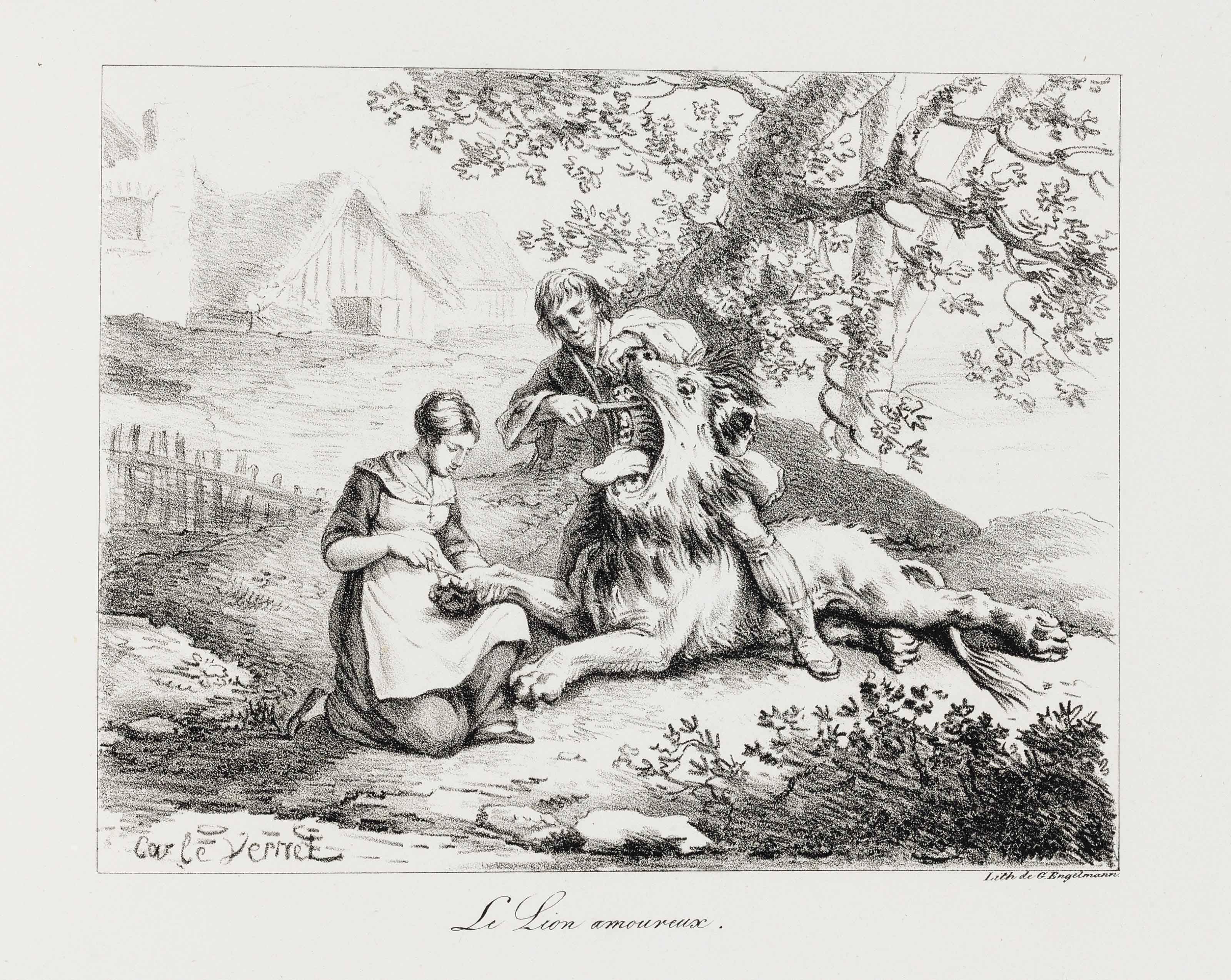 LA FONTAINE, Jean de (1621-1695). Fables Choisies… ornées de figures lithographiques. Paris: Engelmann, 1818.