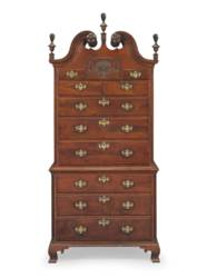 A CHIPPENDALE CARVED WALNUT CH