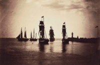 Bateaux quittant le port du Havre (navires de la flotte de Napoleon III), 1856-1857