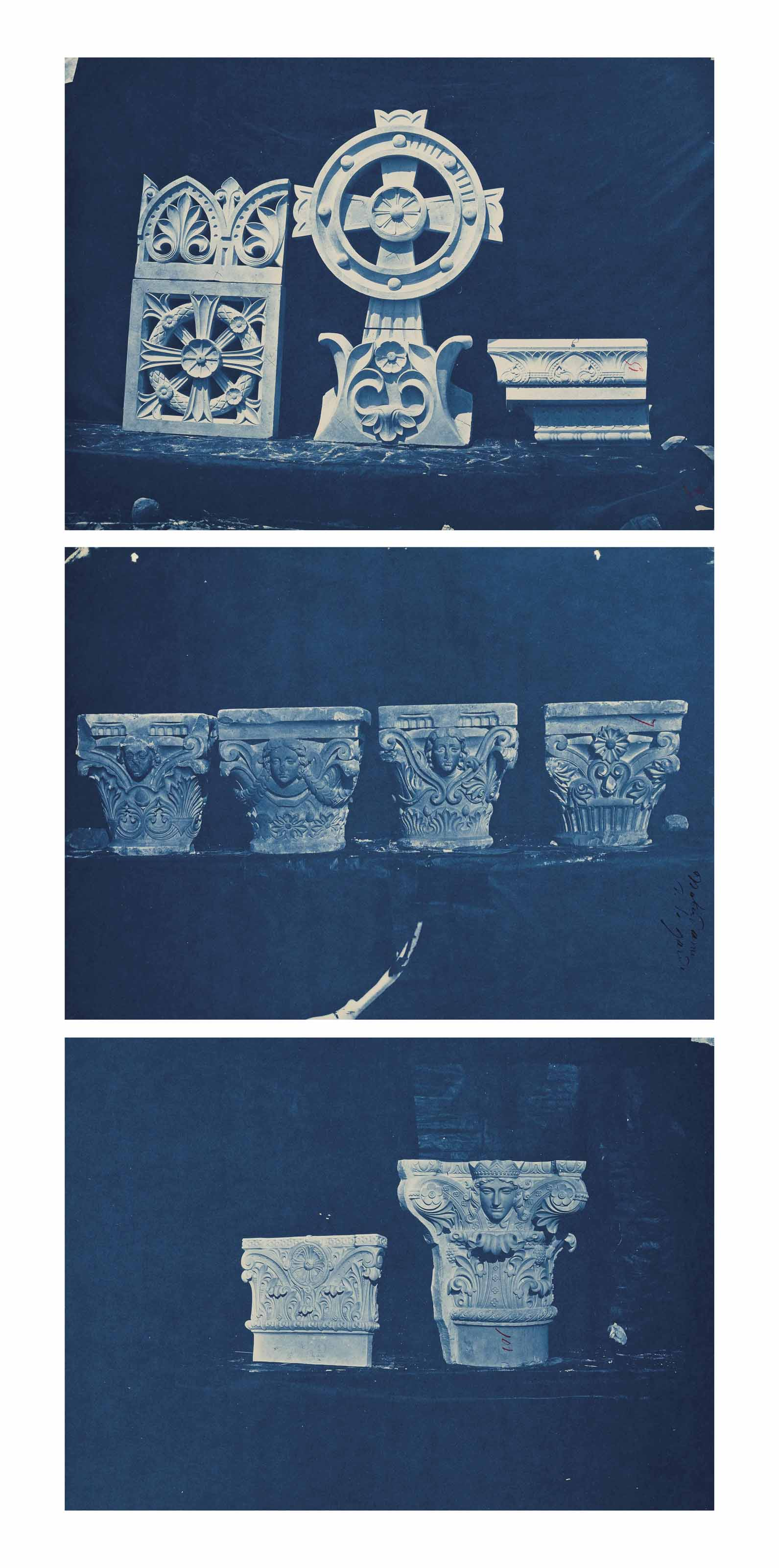 Three architectural studies from the Reconstruction of the Marseille Cathedral project, c. 1868