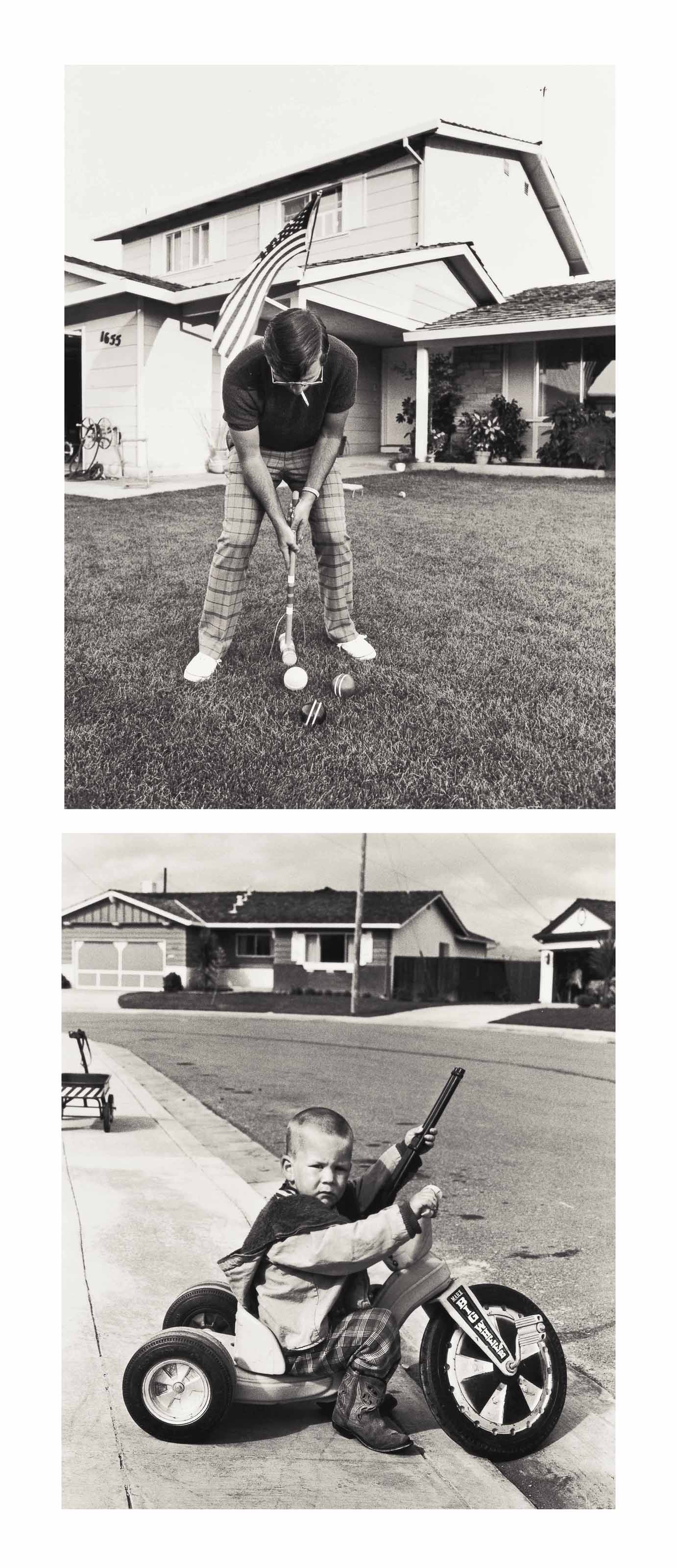 I don't feel that Richie playing with guns will have a negative effect on his personality from 'Suburbia', 1973; I only play croquet once a year on the Fourth of July. The rest of the day we spend at the neighbor's pool drinking beer from 'Leisure', 2004