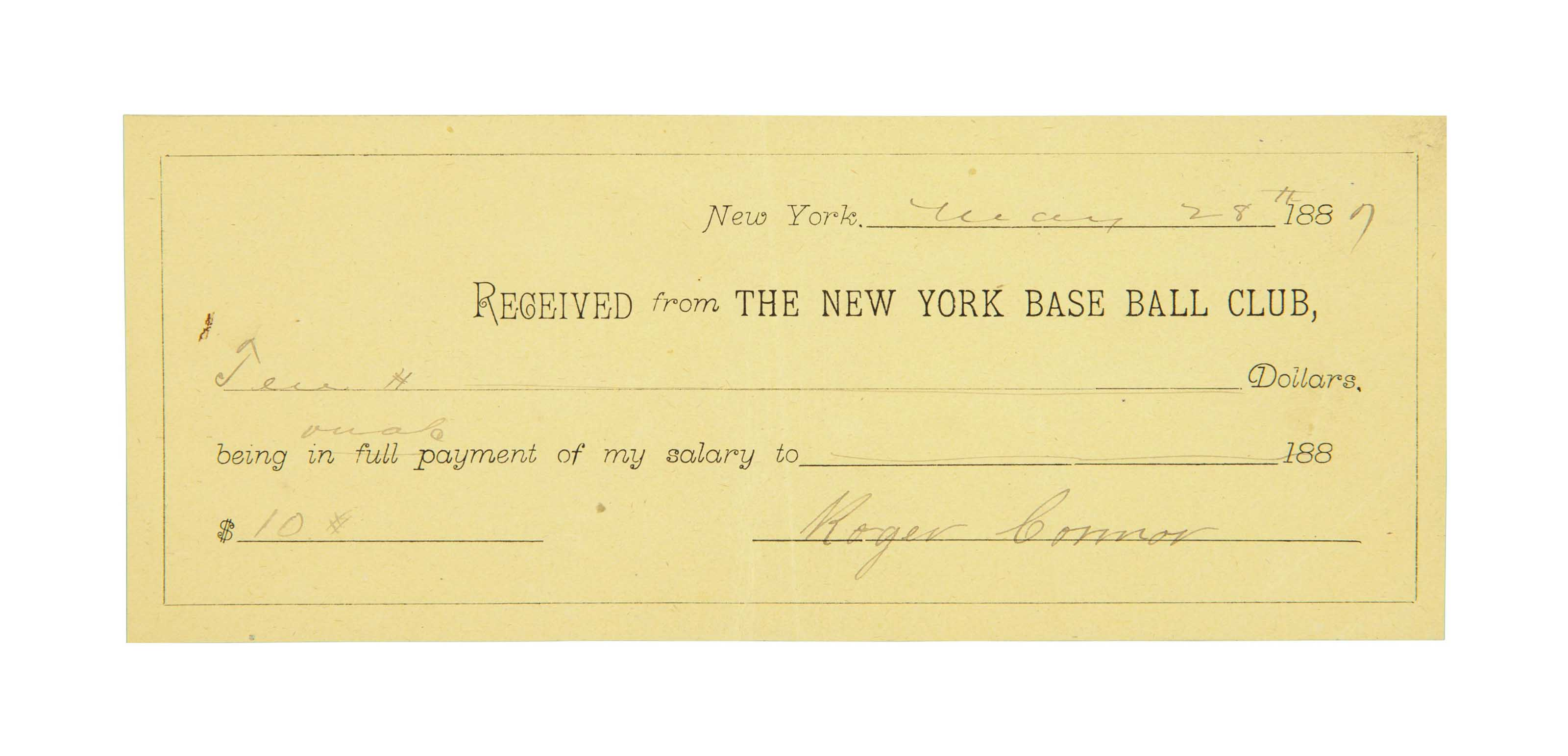 ROGER CONNOR SIGNED RECEIPT