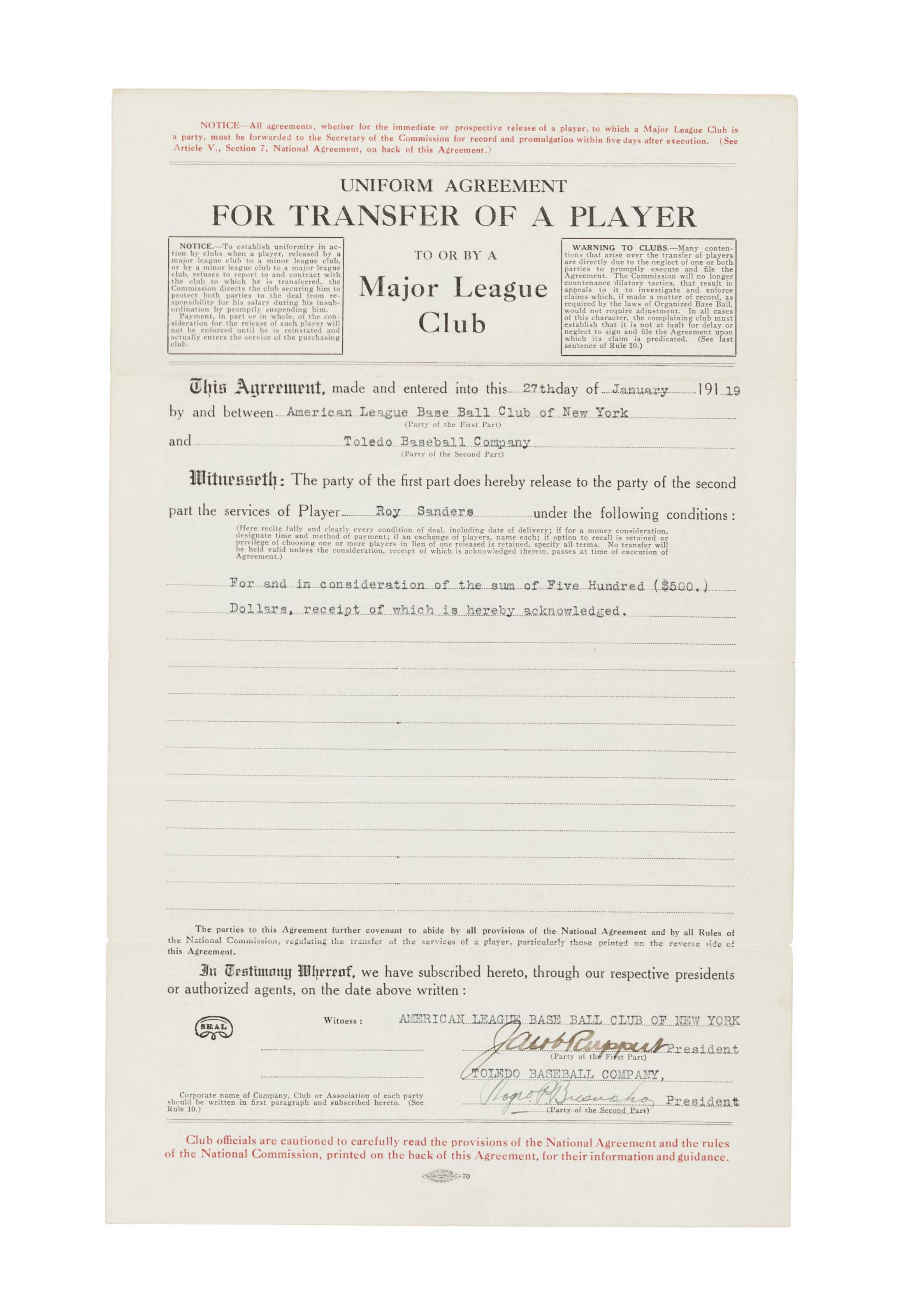 Roger Bresnahan Signed Contract 19th Century Memorabilia Christies