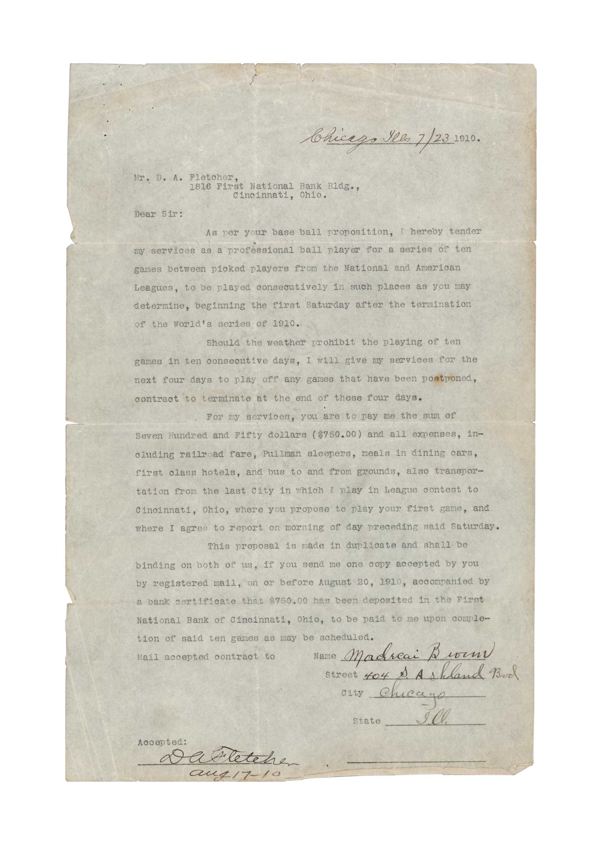 MORDECAI BROWN SIGNED CONTRACT