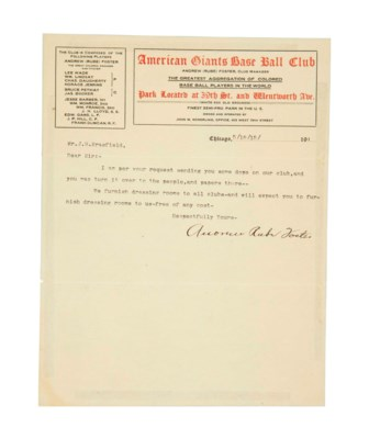 RUBE FOSTER SIGNED LETTER