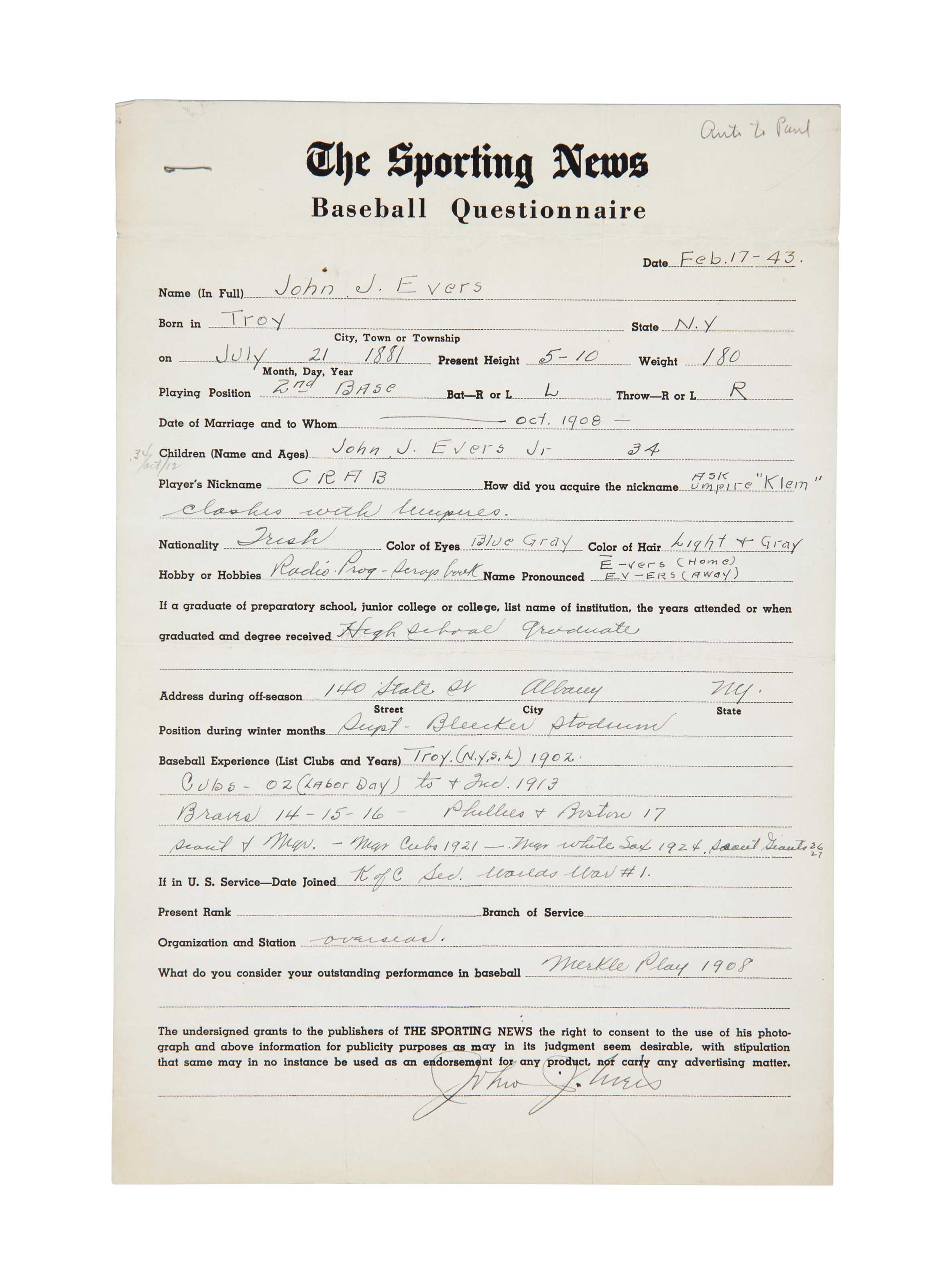 JOHNNY EVERS SIGNED QUESTIONNA