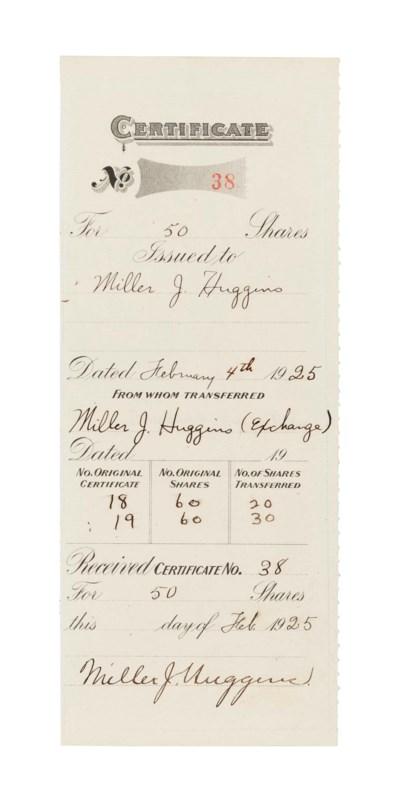 MILLER HUGGINS SIGNED DOCUMENT