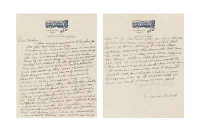 CONNIE MACK HANDWRITTEN LETTER