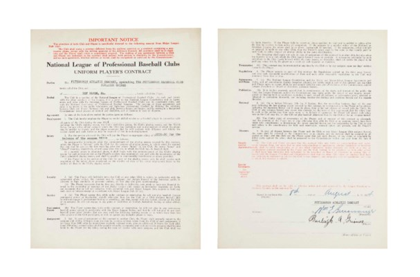 BURLEIGH GRIMES SIGNED CONTRAC