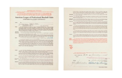 LEFTY GROVE SIGNED CONTRACT