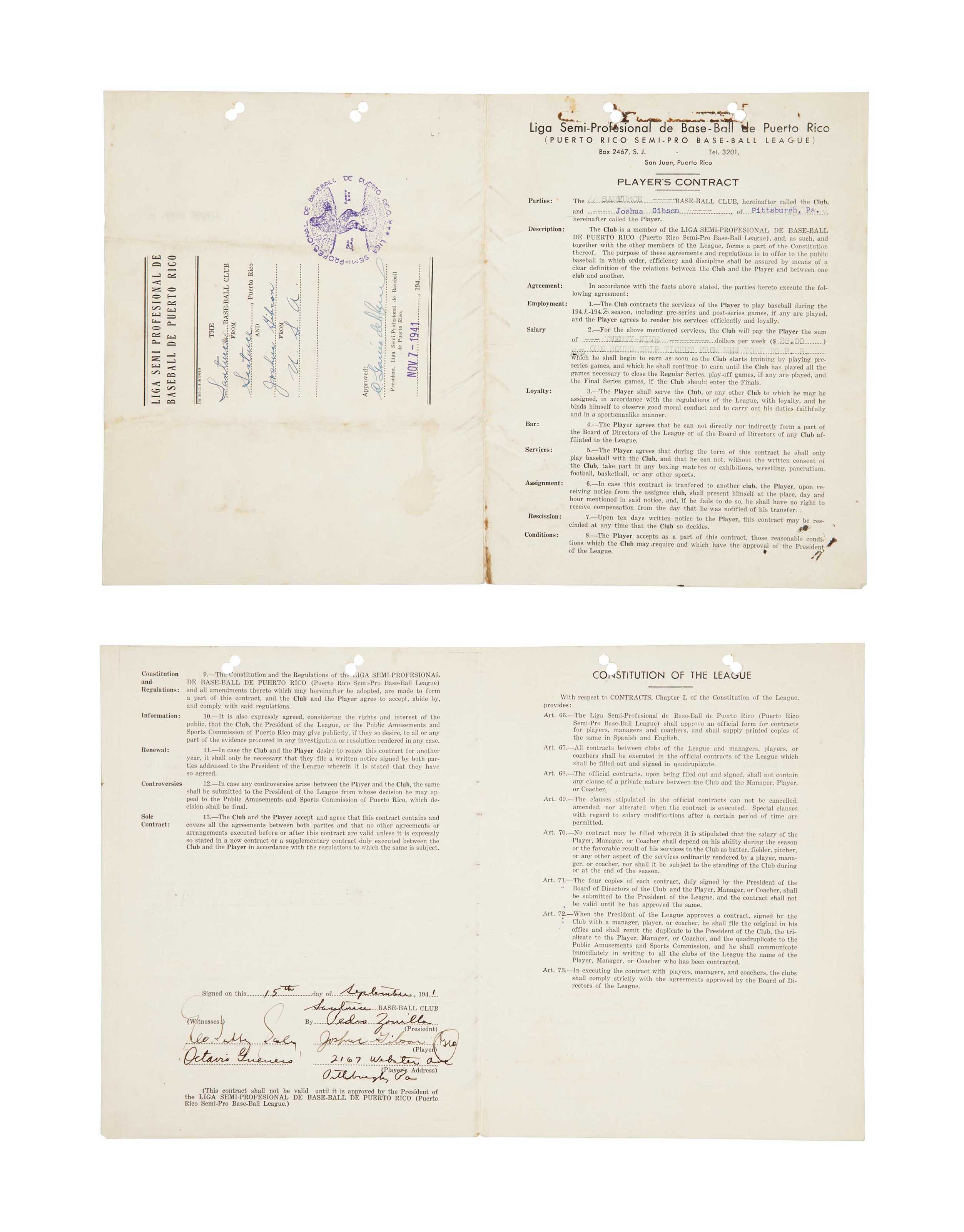 JOSH GIBSON SIGNED CONTRACT