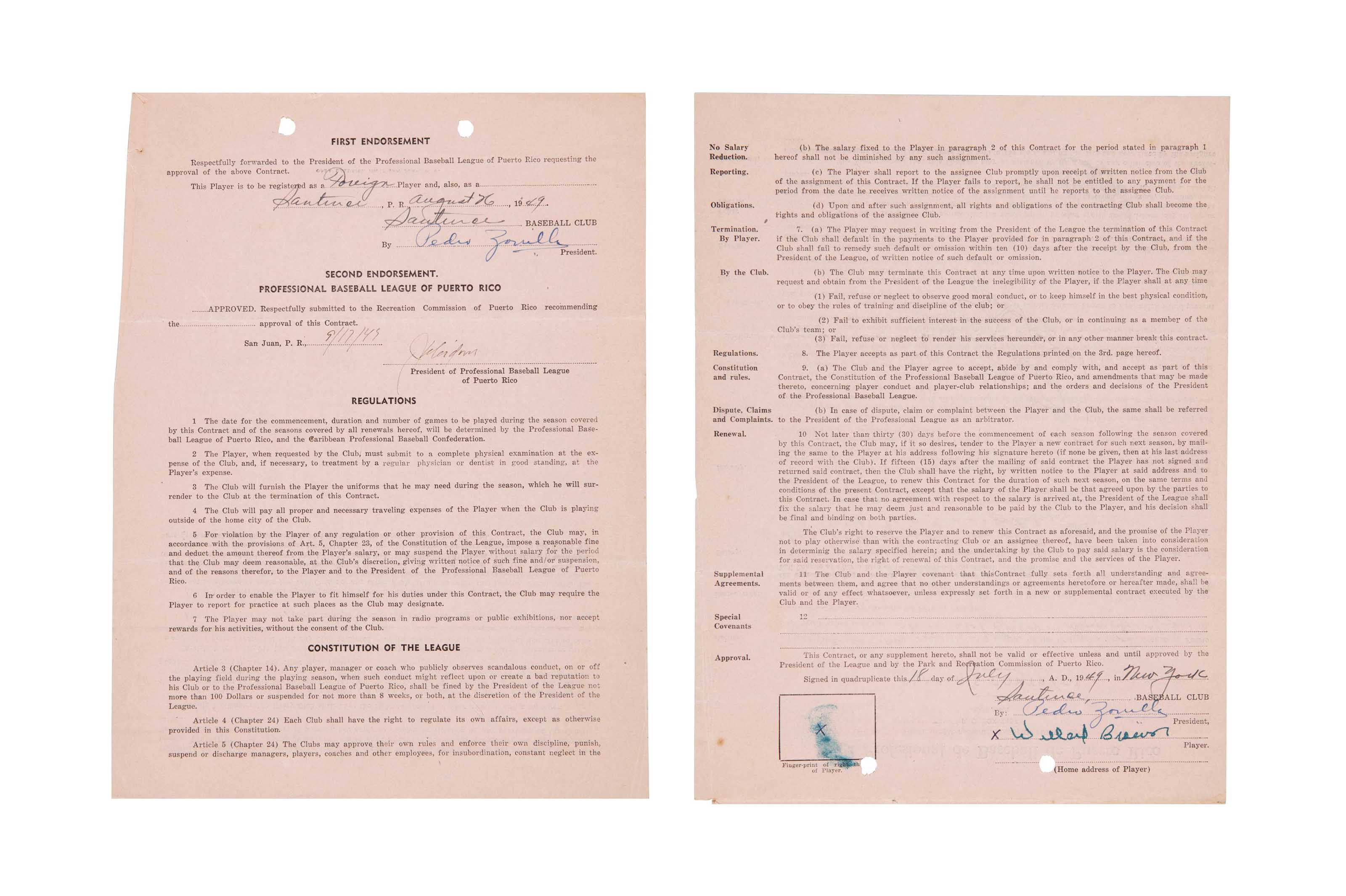 WILLARD BROWN SIGNED CONTRACT