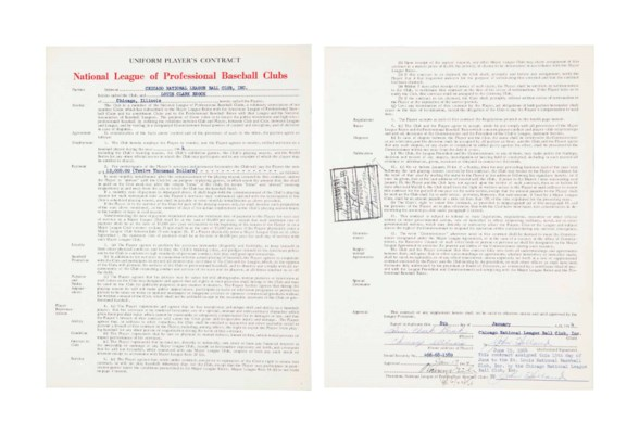 LOU BROCK SIGNED CONTRACT