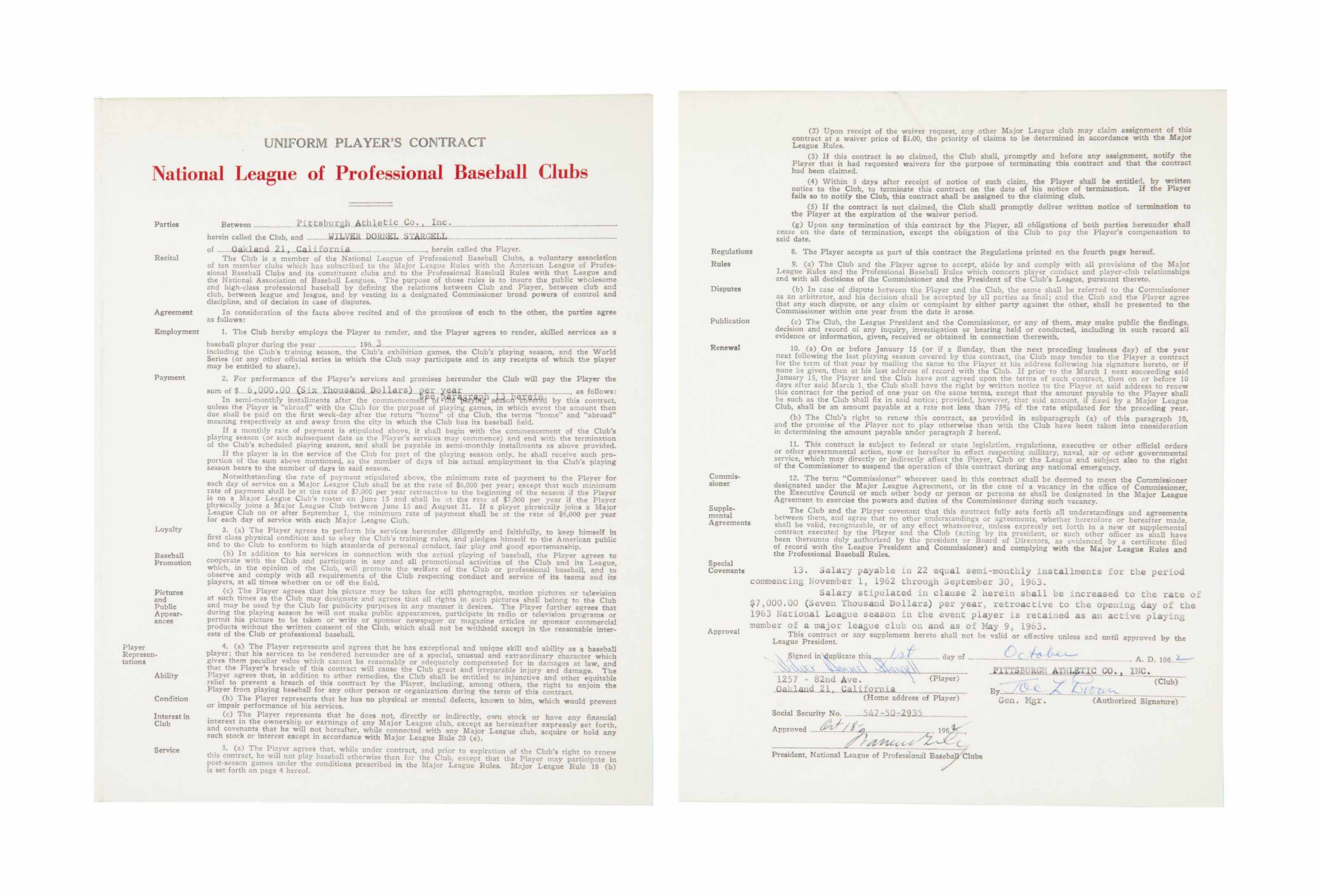 WILLIE STARGELL SIGNED CONTRAC
