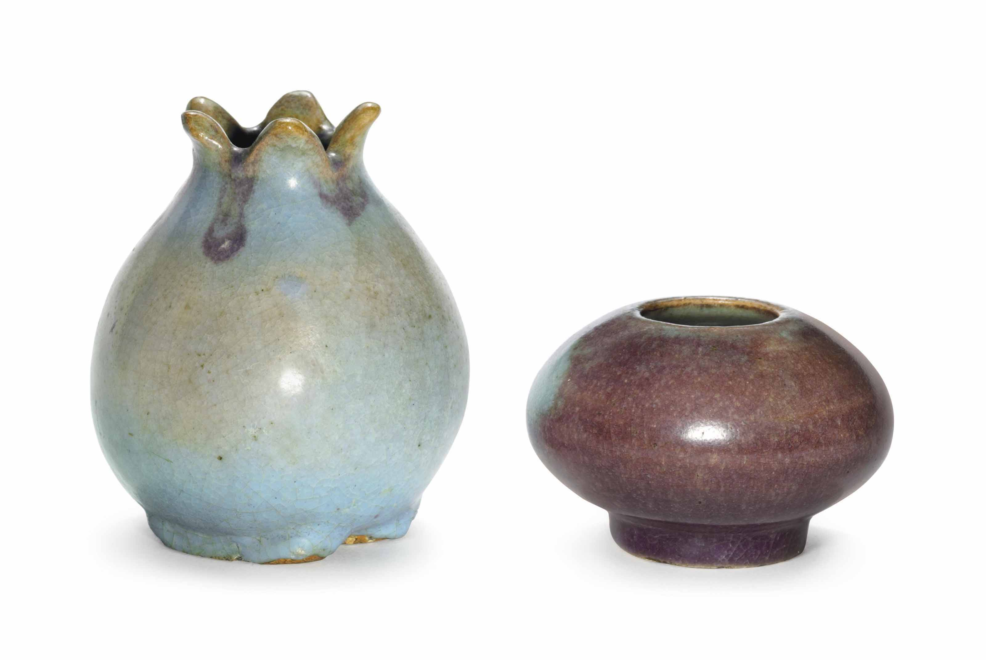 TWO SMALL 'MA JUN' WATER POTS